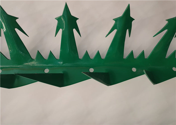 Powder Coated Anti Climbed Security Spikes For Top Of Fence , Dark Green